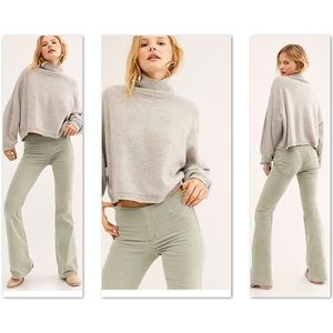 Free People Pull On Corduroy Flare - Frosted Fern